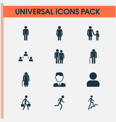 People icons set collection of female ladder vector