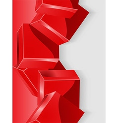 Red geometric cube 3D portrait background vector image