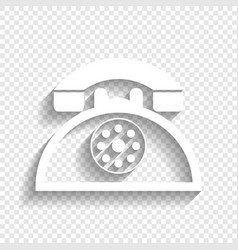 Retro telephone sign white icon with soft vector