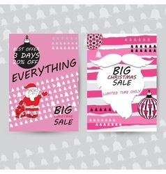 Set of christmas sale cards includes balls vector