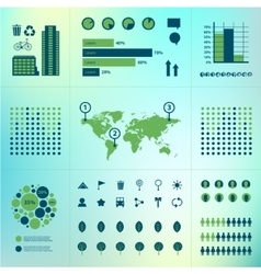 Set of eco infographics world map charts vector