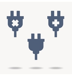 Set of three plugs icon with an x sign with a vector
