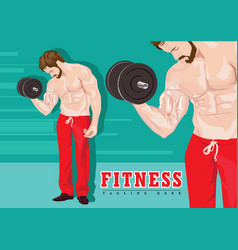 sexy man exercising with dumbbells without shirt vector image