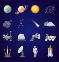space exploration flat icons set vector image vector image