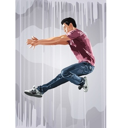 Young man dancer jumping vector