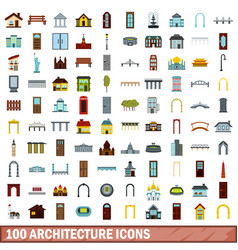 100 architecture icons set flat style vector image vector image