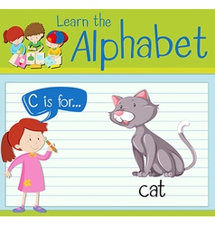 Flashcard alphabet c is for cat vector