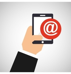 hand holding smartphone and mail vector image