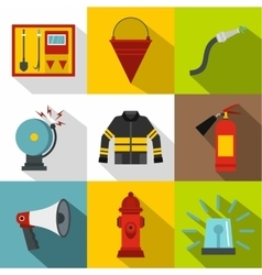 Fiery profession icons set flat style vector