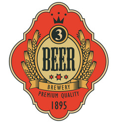 Label for beer with coat of arms in curly frame vector