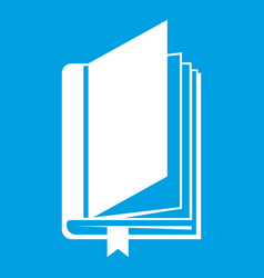Book with bookmark icon white vector