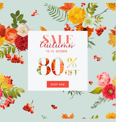 Autumn sale floral banner with maple leaves vector