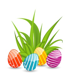 Easter background with traditional colorful eggs vector