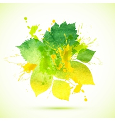 Summer green watercolor painted foliage banner vector
