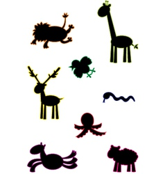 Funny animals silouettes vector