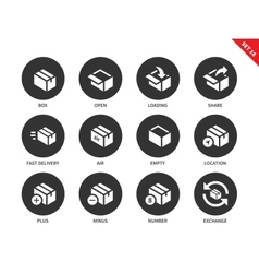 Box and package icons on white background vector
