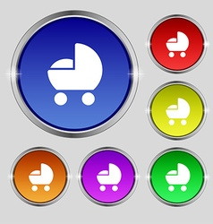 baby pram icon sign Round symbol on bright vector image