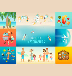 Beach set with concepts of snorkeling surfing vector