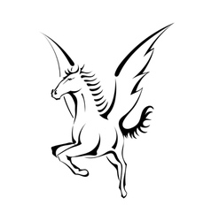 Black silhouette of Pegasus vector image vector image