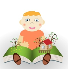 Boy with book vector image