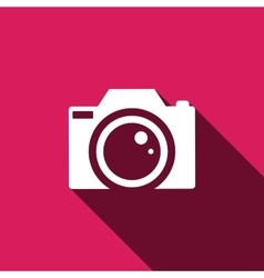 Camera Icon with long shadow vector image vector image