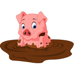 cartoon funny pig sitting vector image