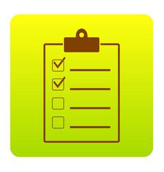 Checklist sign brown icon at vector