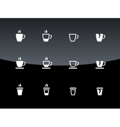 Cup icons on black background vector
