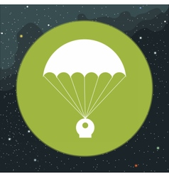 Digital with space capsule and parachute vector