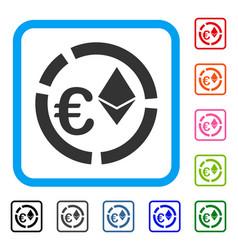 Euro ethereum diagram framed icon vector