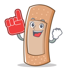 foam finger band aid character cartoon vector image vector image