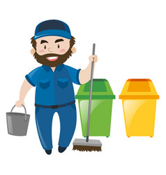 male janitor with broom and bucket vector image