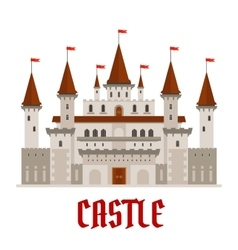 Medieval castle building with red flags vector