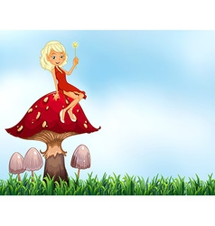 Mushroom and fairy vector image