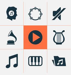 Music icons set collection of start music vector