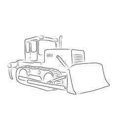 Outline of bulldozer vector