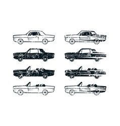 set of retro car silhouettes vector image