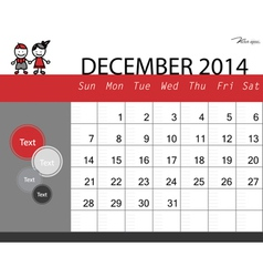 Simple 2014 calendar December vector image vector image