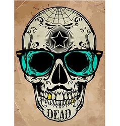 Skull a mark of the danger warning t-shirt vector