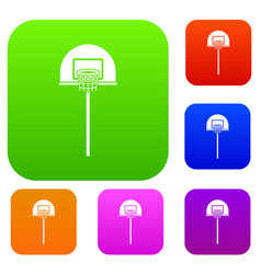 Street basketball hoop set collection vector