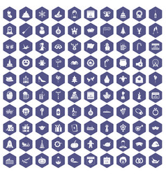 100 holidays icons hexagon purple vector image