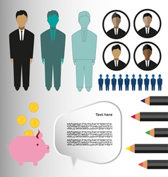 Business infographic with icons persons pencils an vector