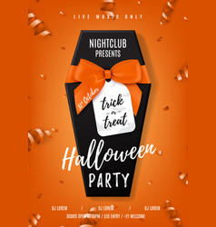 Halloween party poster with black coffin vector