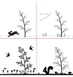 Silhouette seasons in forest vector