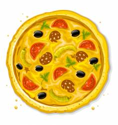 pizza fast food illustration vector image