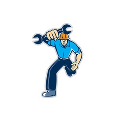 Mechanic spanner wrench running retro vector