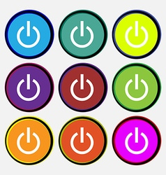 Power icon sign Nine multi colored round buttons vector image