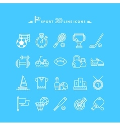 Set of White Icons Sport Equipment vector image