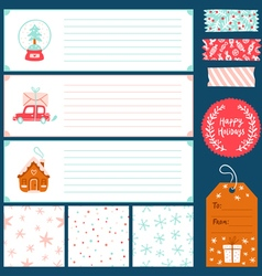 Winter holidays decorations collection vector