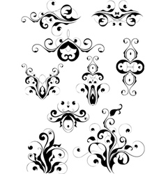 Set of floral designs vector